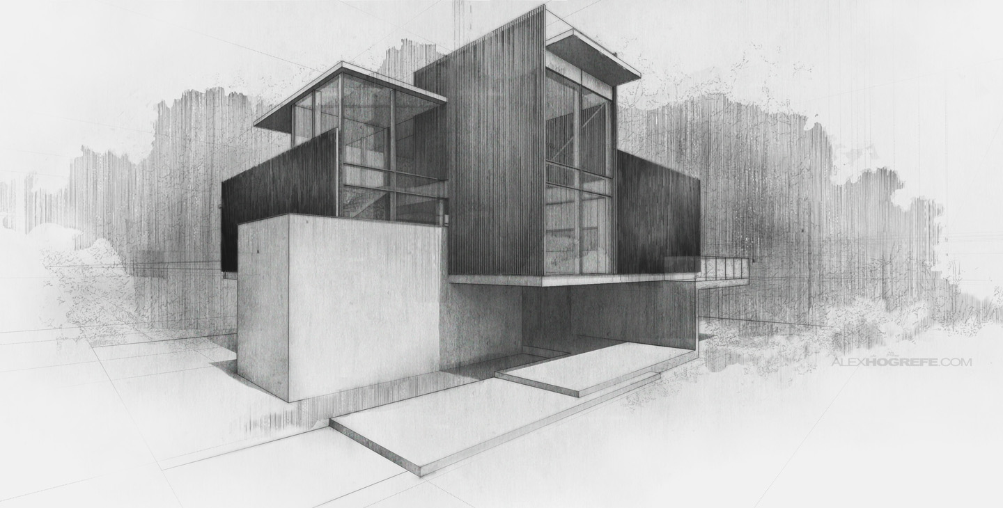 Sketches visualizing architecture for Online architecture drawing