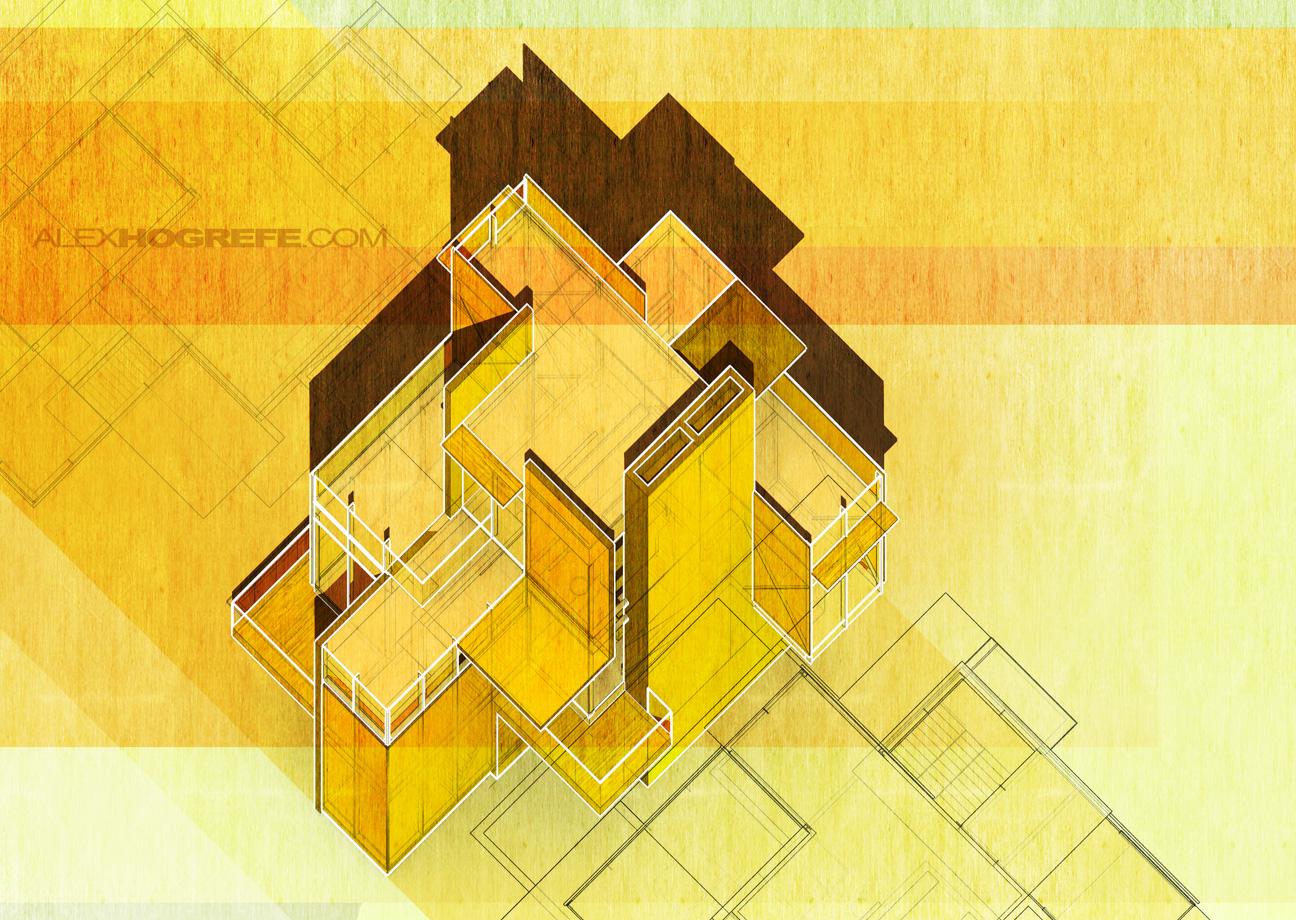 Plan Elevation Oblique : Villa plan oblique visualizing architecture