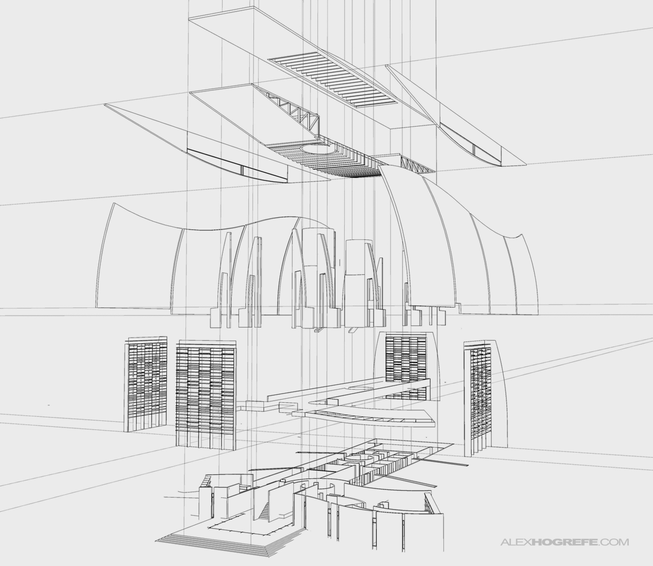 Exploded axon visualizing architecture for Architectural design with sketchup