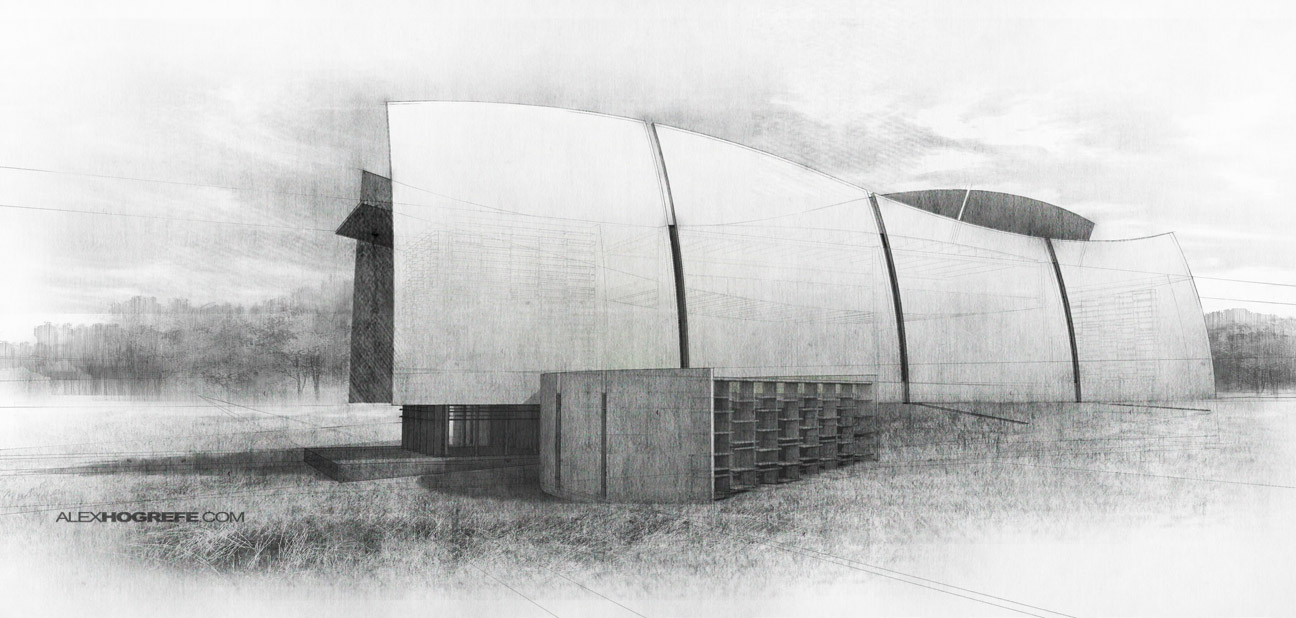Visitor Center Sketch Style