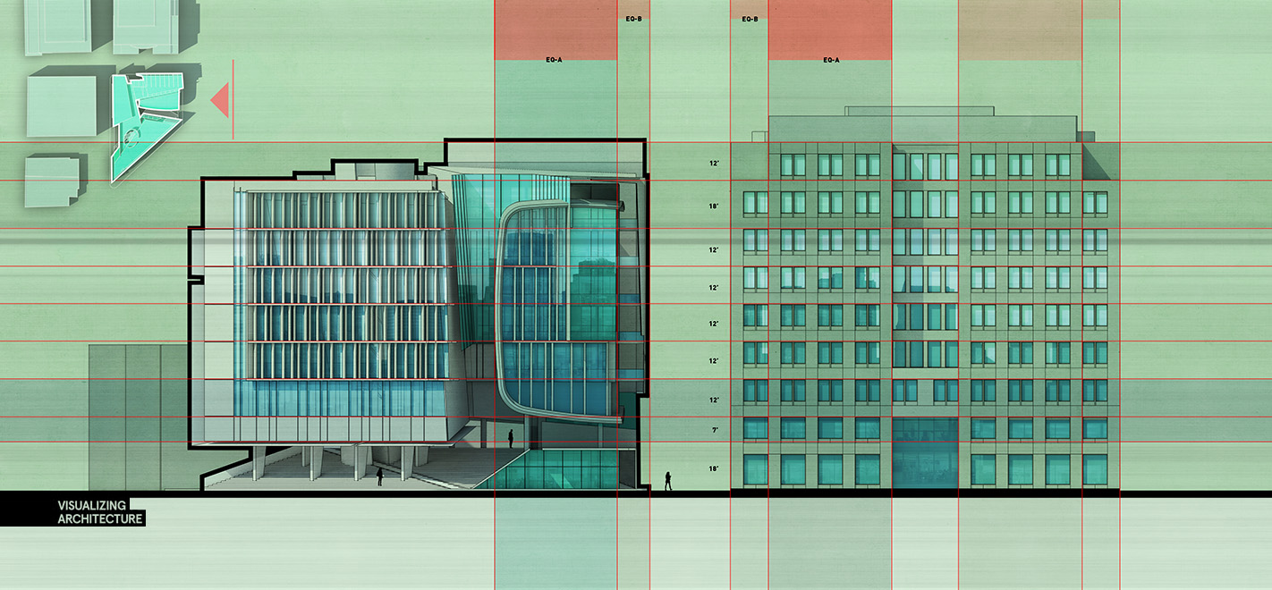 Curtain wall facade elevation - Boston Culture Center Elevation
