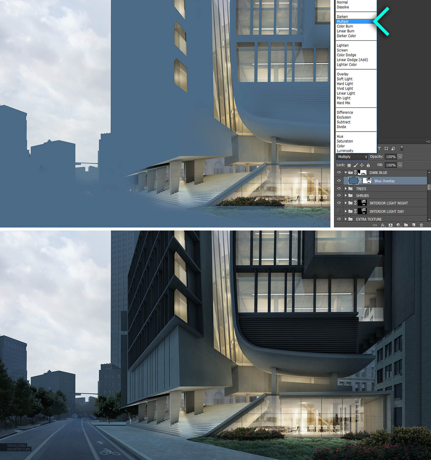 Day to night all photoshop visualizing architecture for Www architecture