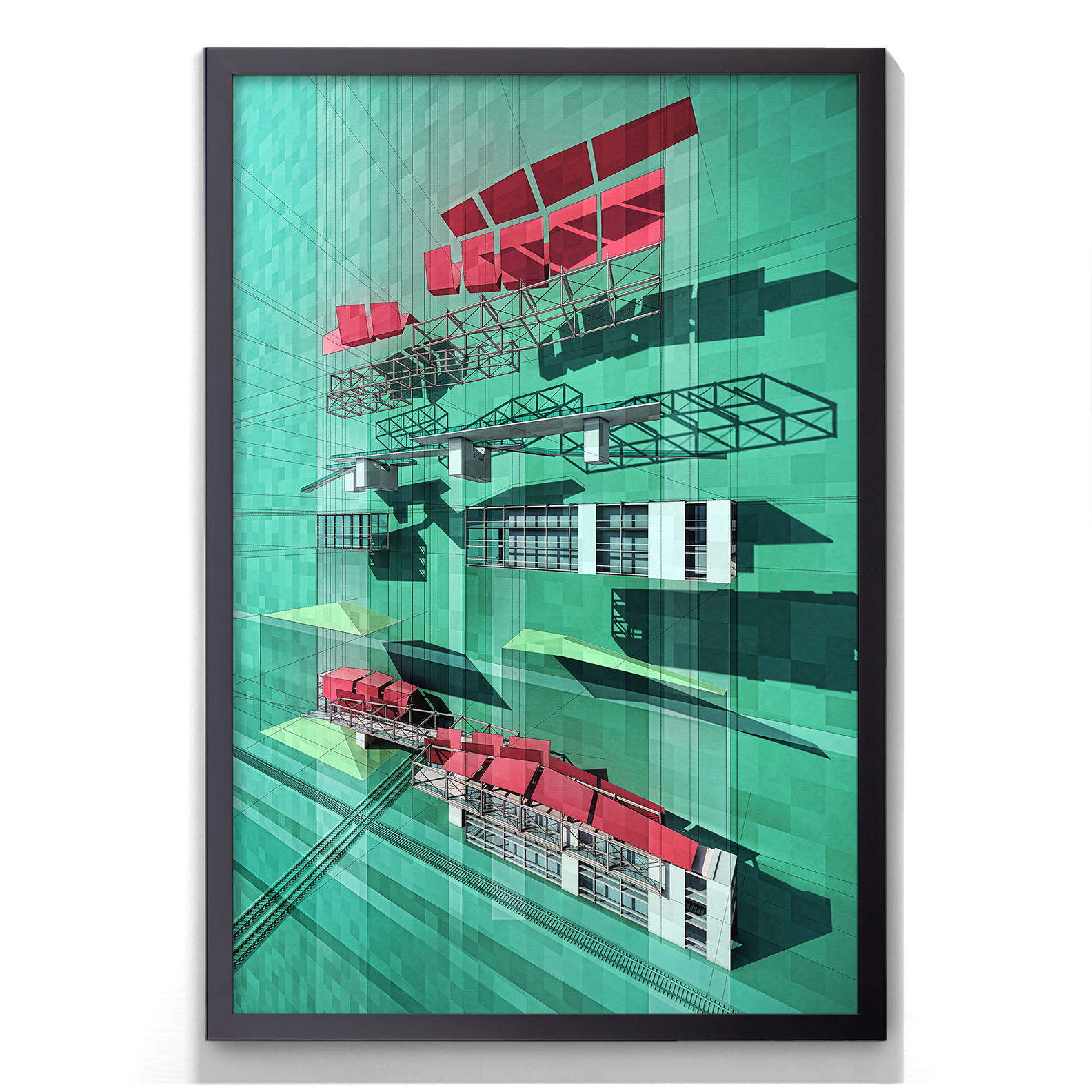 exploded axon framed poster visualizing architecture