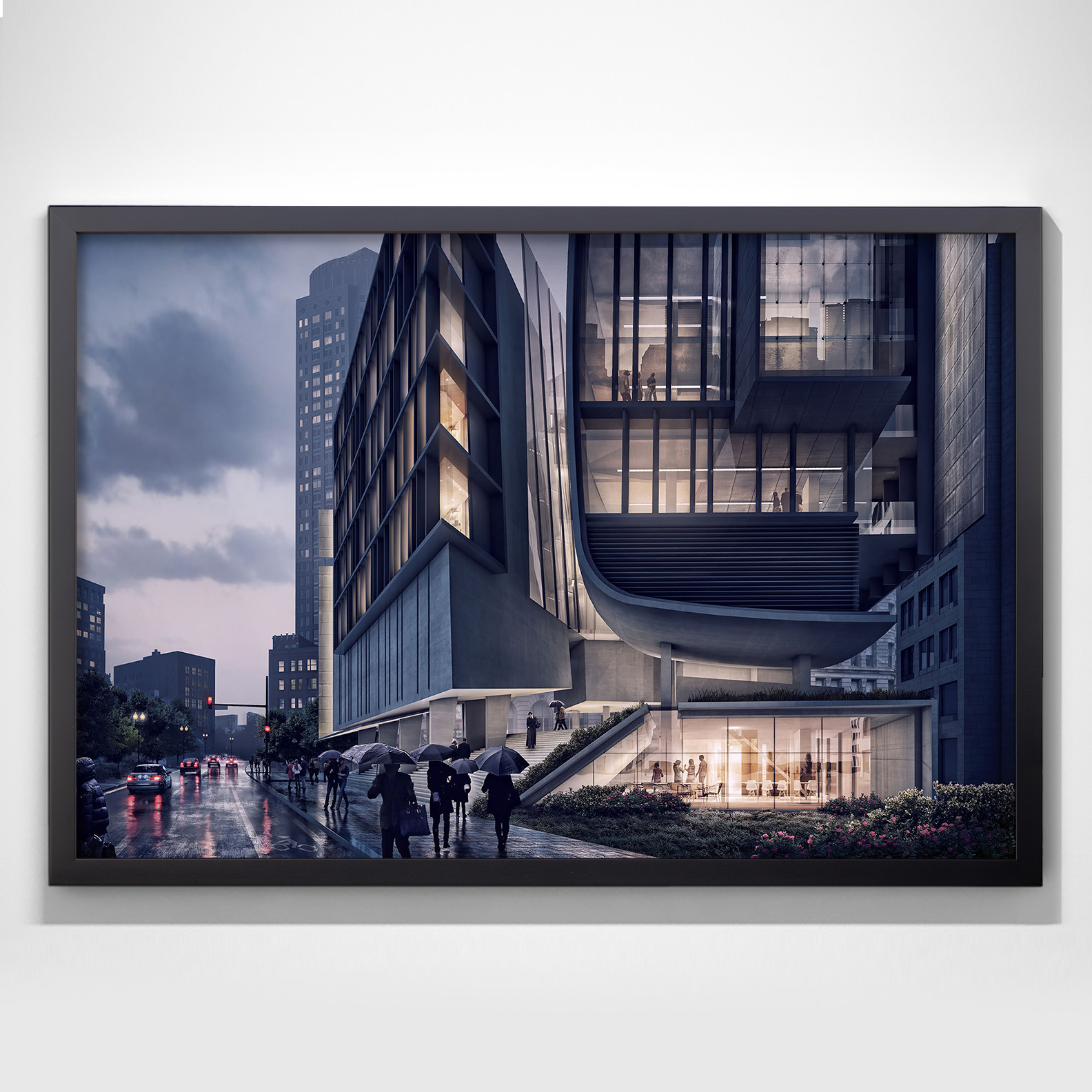 urban night perspective framed poster visualizing architecture