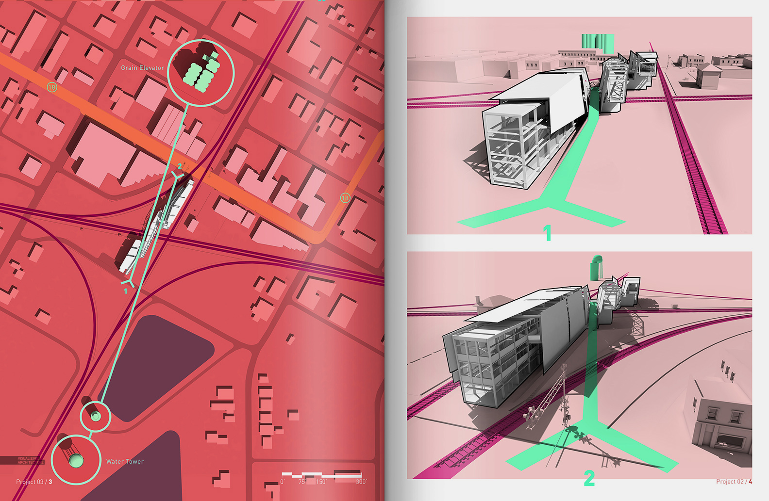 Train Pavilion Diagrams Visualizing Architecture Architectural Drawings And Diagram 1 Spread One