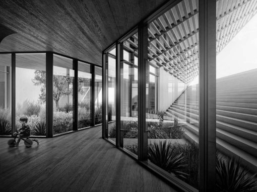 Desert Villa Interior BW